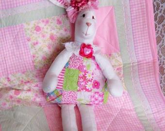 Bunnies for Sale, Handmade Quilt Body Bunny, Shabby Chic Bunny, Easter Bunny, Handmade Stuffed Bunny