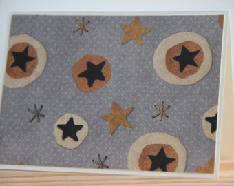 12 Star Note Cards. Folk Star Card Set. Blank Note Cards. Glitter Star Cards. Country Note Cards