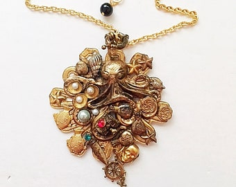 Steampunk Octopus-Handmade, One of a kind, 24kt. Gold Plated