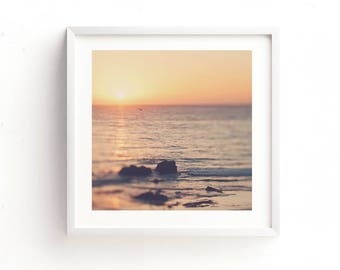 sunset photo, sunset print, digital art, printable, beach photography, California wall art, orange, yellow, coastal decor, beach art print