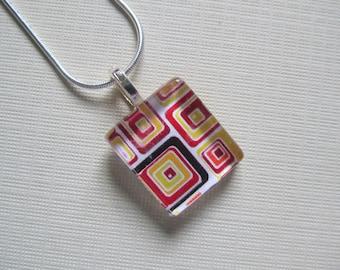 Bright Retro Print Pendant with Silver Chain Necklace