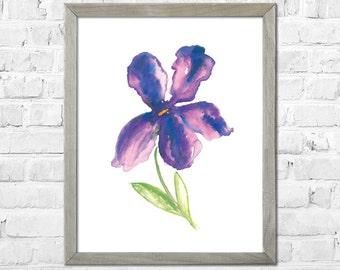 Purple flower, Flower painting, Watercolor flower print, Abstract flower, Flower art, Floral print, Watercolor art