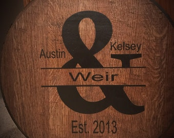 Bourbon Barrel Head-Monogram-Personlized/Christmas Gift
