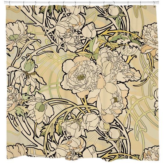 Bathroom Art Nouveau: Art Nouveau Shower Curtain Floral Bath Curtain Nature