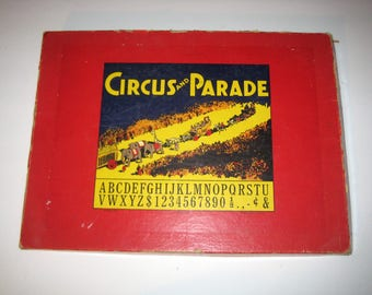 Vintage (1930s) Printing Set - Circus Parade - Letter Blocks, Animal and Circus Performers