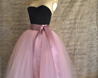 Full length sewn unlined tulle skirt. Dusty rose pink high waist tutu for women.