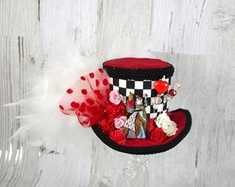 Black, White, and Red Harlequin Queen of Hearts Cutout with Flowers Medium Mini Top Hat Fascinator, Alice in Wonderland Mad Hatter Tea Party