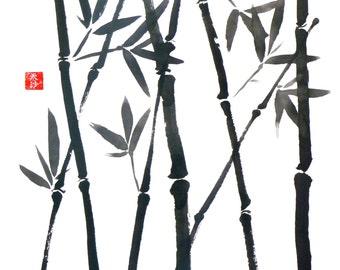 Original Sumi Brush painting, Bamboo, Asian, Japanese, wall art, home decor, black & white, red chop, plant, botanical, leaves, garden, gift