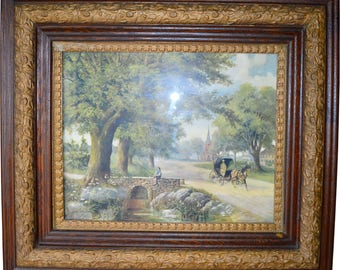 17045 Victorian Oak Picture Frame with Horse and Buggy Print