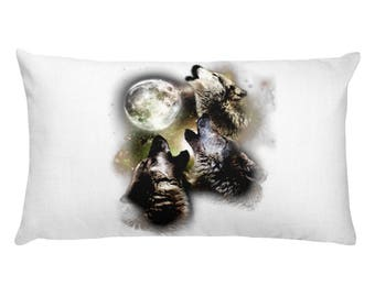 Wolves Howling At The Moon Gift Rectangular Pillow