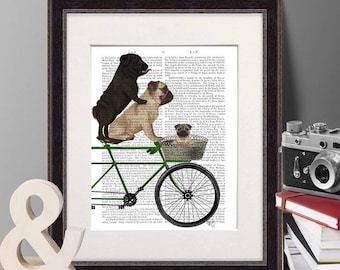 Pug print - Pugs on bicycle - Cute pug art pug dog art Unique pug gift Pug lover gift Pug dog Pug gift Pug print art Prints of dogs Cycling