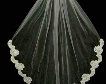 Beaded Partial Floral Lace Edge Fingertip Length Wedding Veil