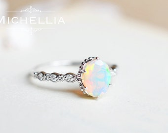 Vintage Inspired Oval Ring in Opal, Ethiopian Fire Opal Oval Engagement Ring, Available in 14K Gold, 18K Gold, or Platinum, R5001