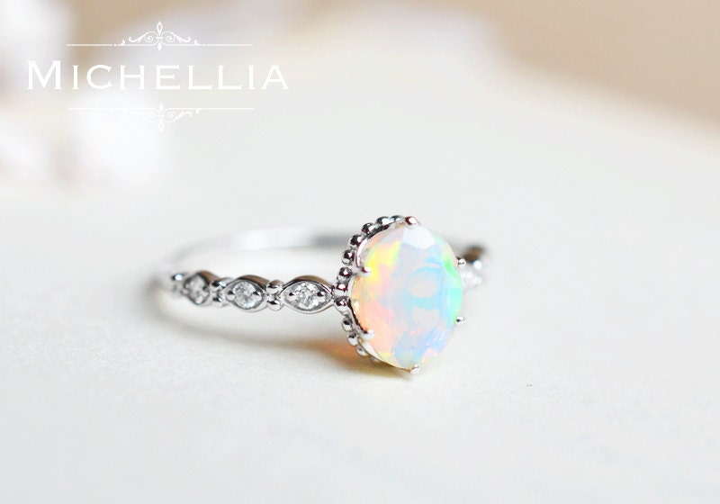 Vintage Inspired Oval Ring In Opal Ethiopian Fire Opal Oval