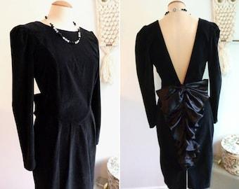 Black velvet and rustle evening dress