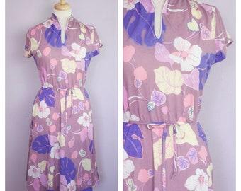Vintage 1980's Cap Sleeve Mandarin Collar Purple Floral Dress M