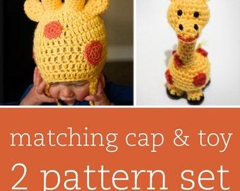 2 CROCHET PATTERN SET - Jolly Giraffe Cap & Amigurumi Toy - child/baby/toddler sizes for cap
