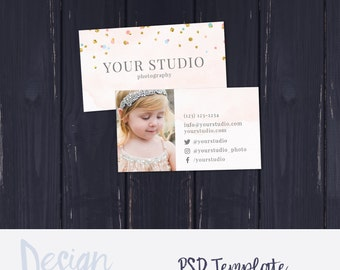 Watercolor Photography Business Card, Business Card Template, Photography Business Card, Photoshop Business Card, Confetti Business Card