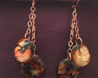 Orange, Black & Copper Alcohol Ink Earrings
