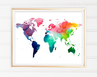 World map printable etsy world map watercolor print map art print world map download home decor instant download home living watercolor art printable map gumiabroncs Gallery