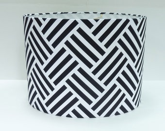 Sample Sale! Black and White Parquet Patterned Fabric Lamp Shade Lampshade