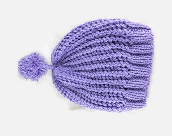 Womens knit hat, Slouchy Wool Beanie Hat, Lilac Crochet beanie with pompom ,Gift For Her