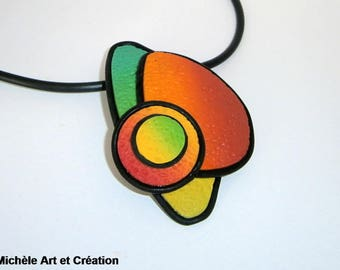 black and multicolor polymer clay necklace