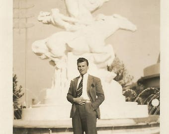 "Vintage Snapshot ""A Dapper Fellow"" Handsome Man Dandy Dresser Spats Pocket Square Found Vernacular Photo"