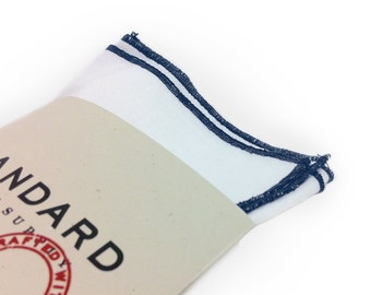 White Pocket Square serged with Navy Blue trim.