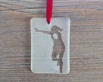 Female Rugby Player Fused Glass Christmas Ornaments / Suncatcher; Sports; Custom; Personalized