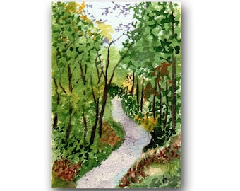 ACEO watercolor WOODLAND Walk original painting SFA miniature dollhouse mini landscape