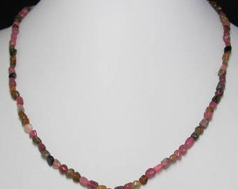 Multicolor Tourmaline Freeform and 925 Silver 18 inch Necklace