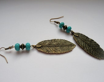 Boho earrings, Leaf earrings, Bronze leaf and turquoise earrings, Bronze bohemian earrings, Boho turquoise earrings, Boho jewellery