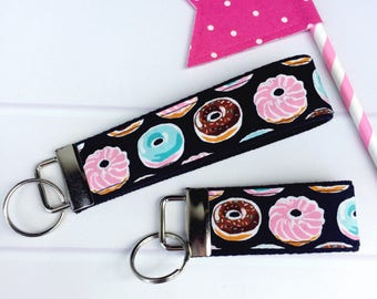 Key Fob Keychain Donuts, Mini Key Fob, Fabric Keychain, Wristlet Keychain for Women, Donut Key Fob Wristlet, Gift for Teen, Gift Under 10