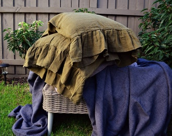 Olive green natural linen pillow case with ruffle / stonewashed linen/ Pure linen bedding