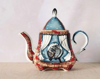 "Ceramic Teapot, Porcelain Tea Pot, Handmade Teapot, Porcelain teapot ""Owls"""