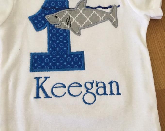 Featured listing image: shark birthday shirt, jawsome shark 1st birthday, shark week shirt, shark bite birthday, great white shark, 1 2 3 4 5 any number, monogram