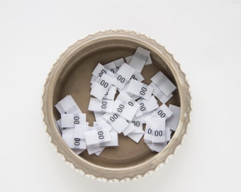 25 White Size Tags. Sew in fabric Garment Size labels -  25 pcs