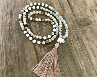 Amazonite and Howlite Mala with Silk Tassel and Elephant Charm