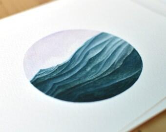 Waves, Part II  //  Fine Art Ocean Watercolor Painting Print
