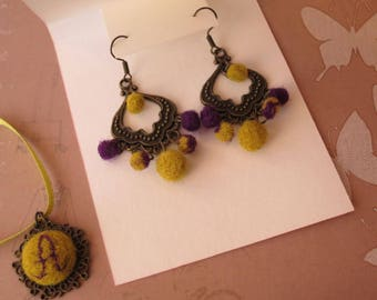 Green-purple chandelier earrings, needle felted wool & metal jewelry, gift for her, tender pay attention for girlfriend, charming complement