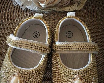 Gold rhinestoned shoes for baby girls | Rhinestoned baby shoes | Beaded shoes for babies.