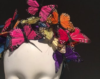 Butterfly Headdress -Derby Hat- Butterfly Fascinator -Derby- Kentucky Derby- Multi color Hat-Monarch -Custom Fascinator- Butterfly Hat