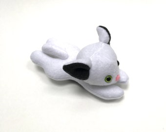 Small black and white cat soft stuffed plush kids toy animal handmade- made to order