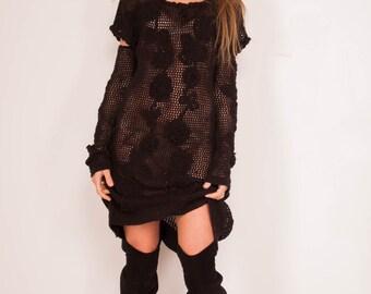 Black Crochet Dress Small black Dress Mini formal Crochet Dress oversize Irish Lace Dress mini black Dress mittens dress sleeveless Dress