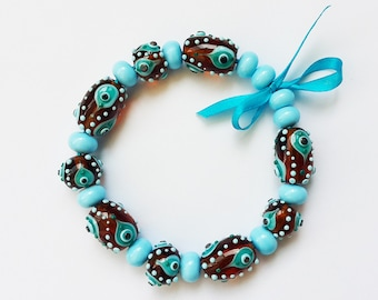 Lampwork Bead Set; Turquoise, Honey Beads; Brown, Blue,Topaz Glass Beads.