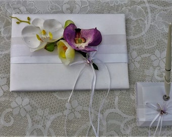 orchid Guest book and pen wedding set