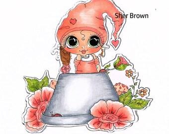 INSTANT DOWNLOAD Digital Digi Stamps Big Eye Big Head Dolls Bestie New Bestie Flower Pot Pixie My Besties By Sherri Baldy
