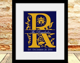Personalized Wedding Gift, Mongram Bridal Shower Gift, Calligraphy Initial Print, Monogram Wedding Print, Name and Established Date Print