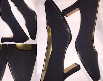 "Vintage Apostrophe ""Piccolo"" Black Block Heels Size 10M"